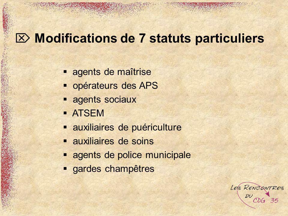 Modifications de 7 statuts particuliers agents de maîtrise opérateurs des APS agents sociaux ATSEM auxiliaires de puériculture auxiliaires de soins ag