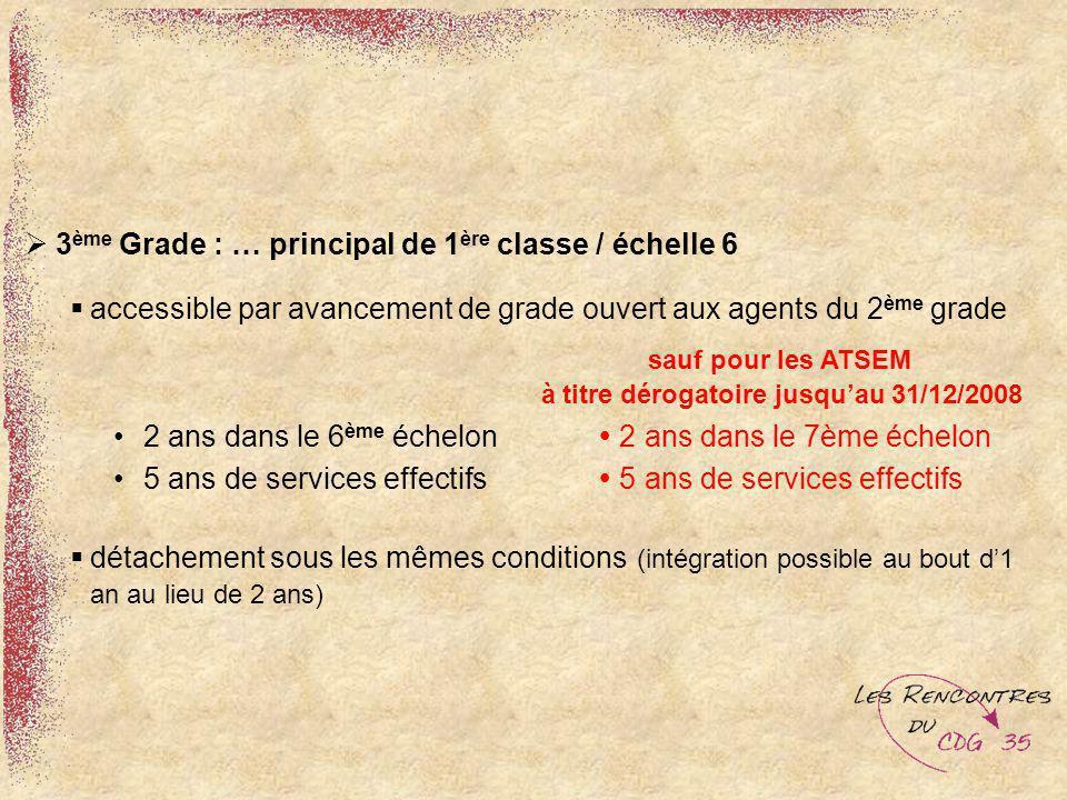 3 ème Grade : … principal de 1 ère classe / échelle 6 accessible par avancement de grade ouvert aux agents du 2 ème grade sauf pour les ATSEM à titre