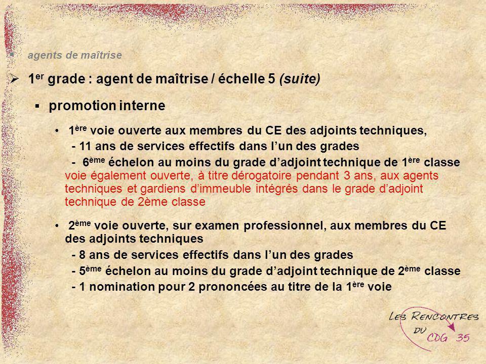 agents de maîtrise 1 er grade : agent de maîtrise / échelle 5 (suite) promotion interne 1 ère voie ouverte aux membres du CE des adjoints techniques,