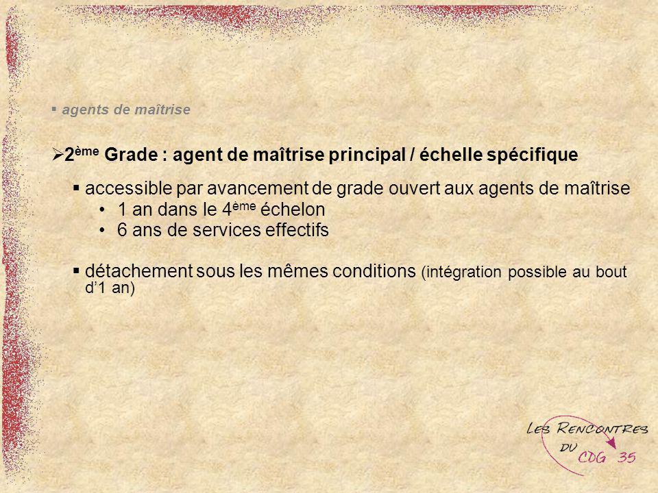 agents de maîtrise 2 ème Grade : agent de maîtrise principal / échelle spécifique accessible par avancement de grade ouvert aux agents de maîtrise 1 a