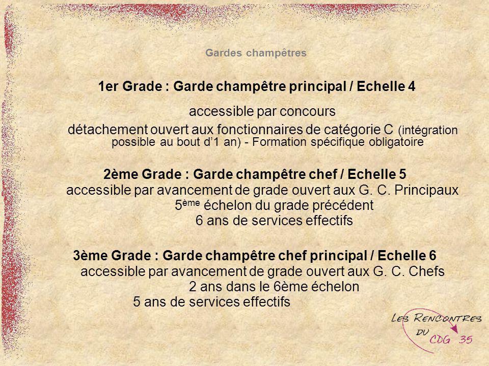 Gardes champêtres 1er Grade : Garde champêtre principal / Echelle 4 accessible par concours détachement ouvert aux fonctionnaires de catégorie C (inté