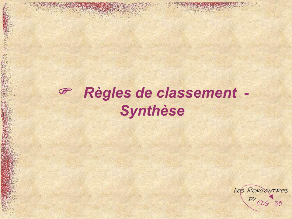 Règles de classement - Synthèse