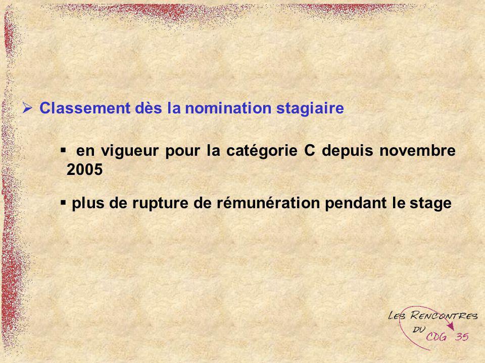 Classement dès la nomination stagiaire en vigueur pour la catégorie C depuis novembre 2005 plus de rupture de rémunération pendant le stage