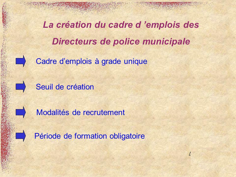 Cadre demplois à grade unique Seuil de création Modalités de recrutement Période de formation obligatoire La création du cadre d emplois des Directeur