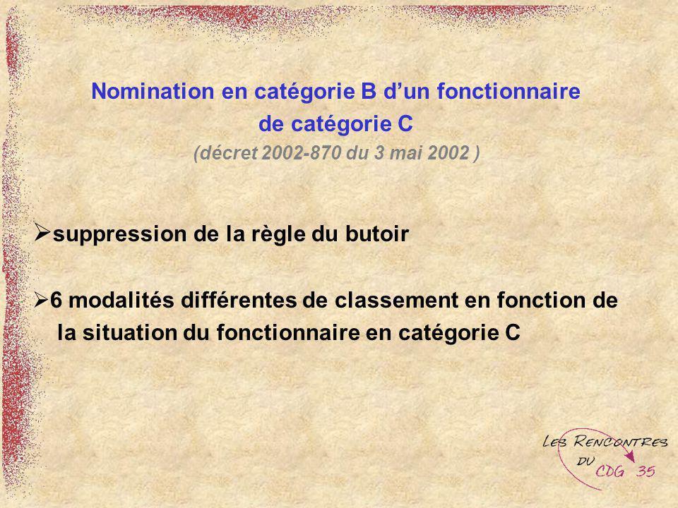 Nomination en catégorie B dun fonctionnaire de catégorie C (décret 2002-870 du 3 mai 2002 ) suppression de la règle du butoir 6 modalités différentes