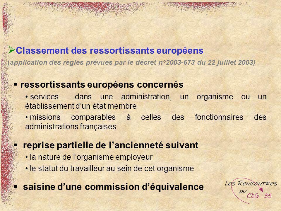 (application des règles prévues par le décret n°2003-673 du 22 juillet 2003) ressortissants européens concernés services dans une administration, un o