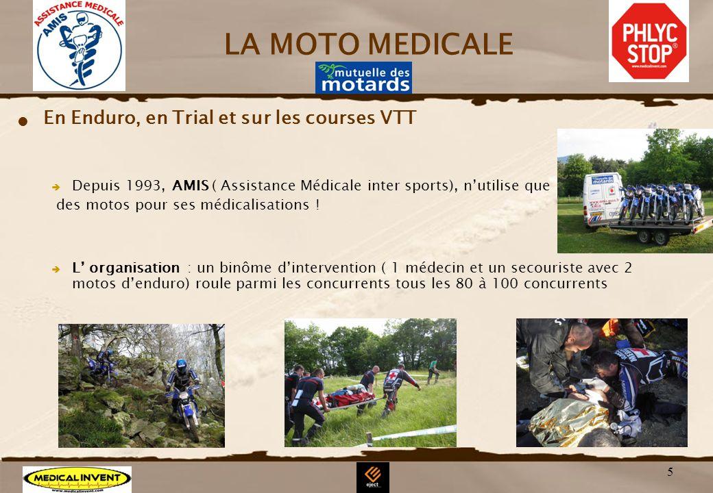 5 LA MOTO MEDICALE En Enduro, en Trial et sur les courses VTT Depuis 1993, AMIS ( Assistance Médicale inter sports), nutilise que des motos pour ses m