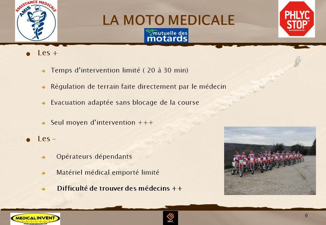 6 LA MOTO MEDICALE Les + Temps dintervention limité ( 20 à 30 min) Régulation de terrain faite directement par le médecin Evacuation adaptée sans bloc