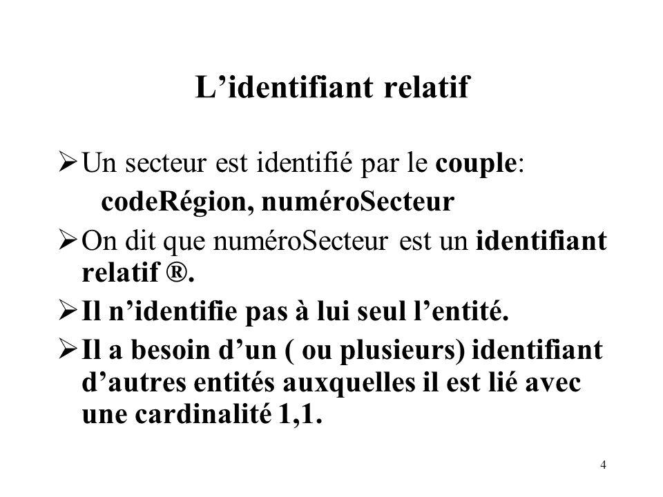 4 Lidentifiant relatif Un secteur est identifié par le couple: codeRégion, numéroSecteur On dit que numéroSecteur est un identifiant relatif ®. Il nid