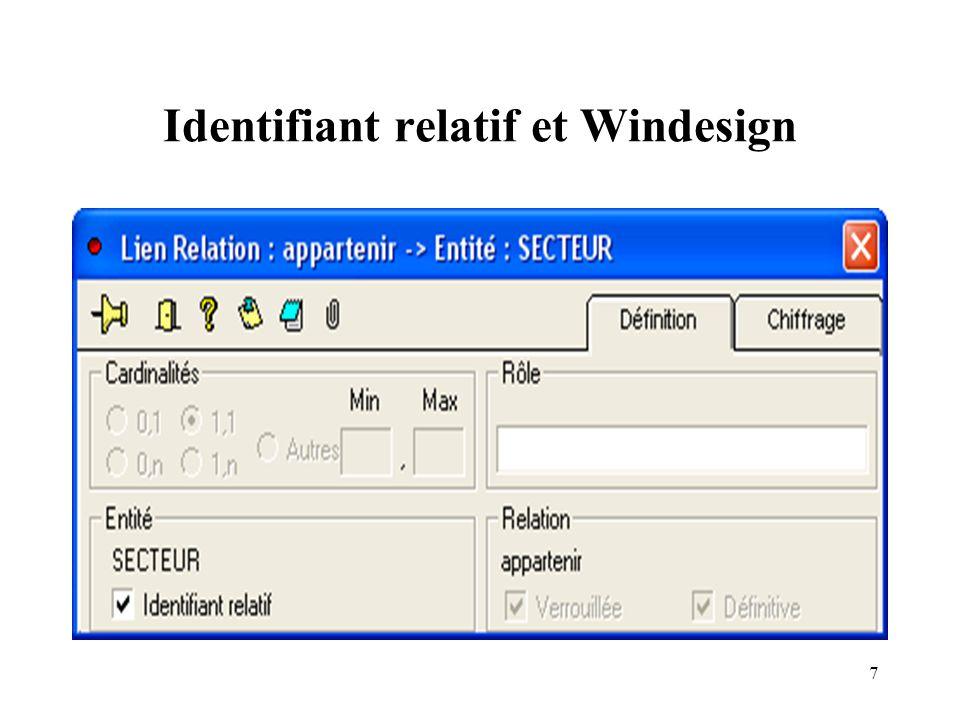 7 Identifiant relatif et Windesign