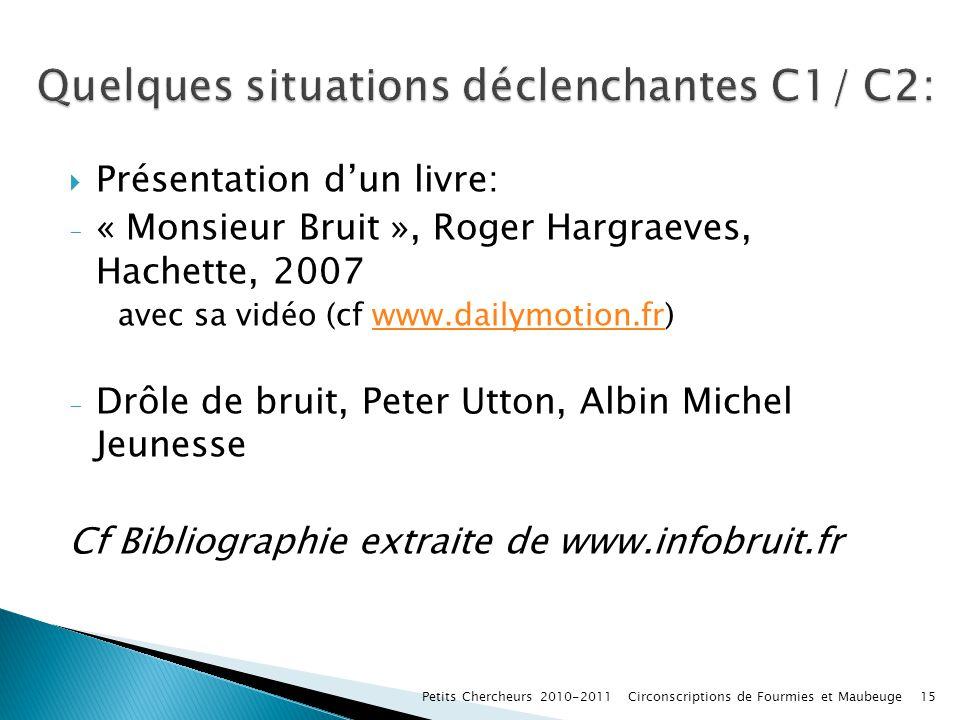 Présentation dun livre: - « Monsieur Bruit », Roger Hargraeves, Hachette, 2007 avec sa vidéo (cf www.dailymotion.fr)www.dailymotion.fr - Drôle de brui
