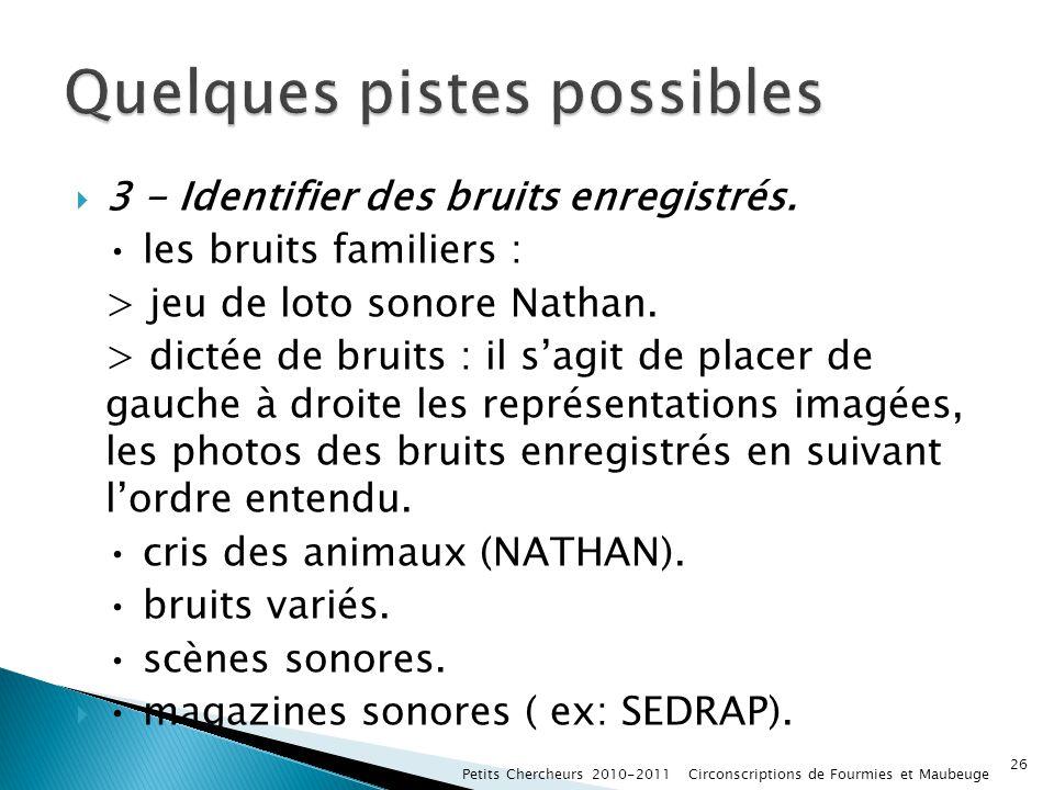3 - Identifier des bruits enregistrés. les bruits familiers : > jeu de loto sonore Nathan. > dictée de bruits : il sagit de placer de gauche à droite
