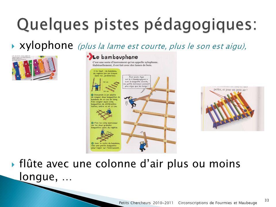 xylophone (plus la lame est courte, plus le son est aigu), flûte avec une colonne dair plus ou moins longue, … Petits Chercheurs 2010-2011 Circonscrip