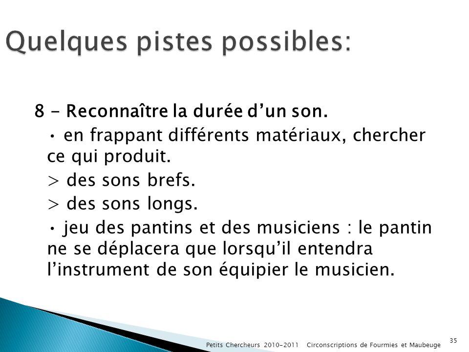 8 - Reconnaître la durée dun son. en frappant différents matériaux, chercher ce qui produit. > des sons brefs. > des sons longs. jeu des pantins et de