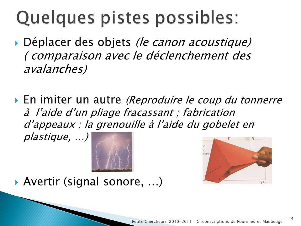 Déplacer des objets (le canon acoustique) ( comparaison avec le déclenchement des avalanches) En imiter un autre (Reproduire le coup du tonnerre à lai