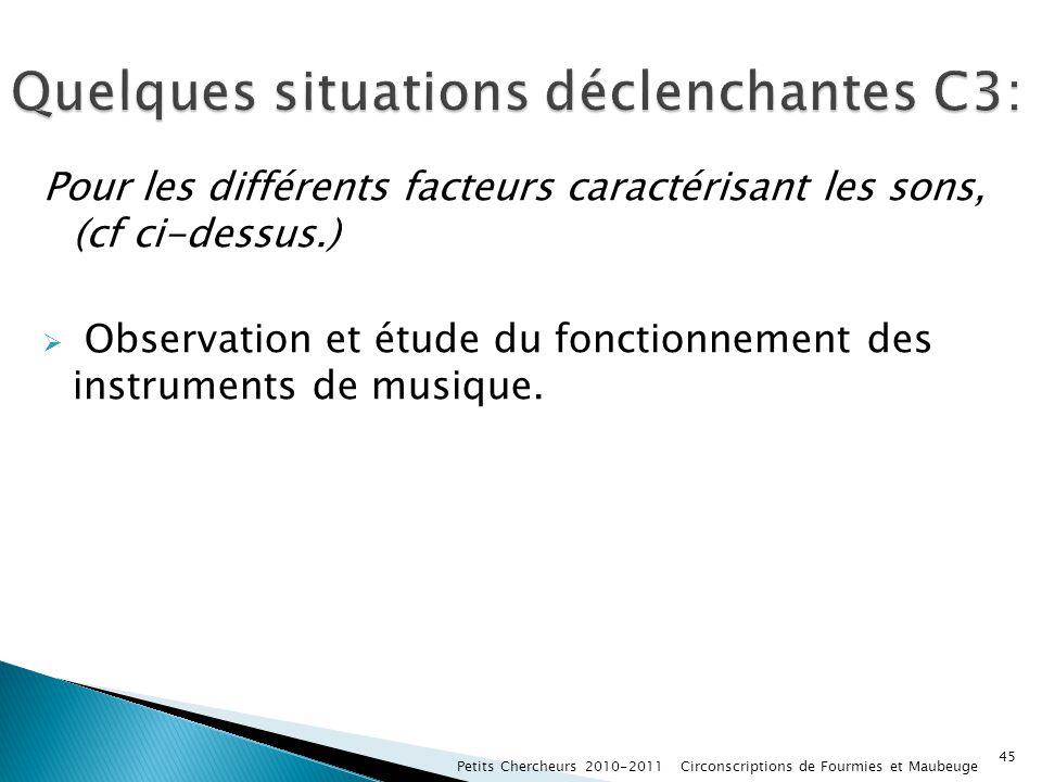 Pour les différents facteurs caractérisant les sons, (cf ci-dessus.) Observation et étude du fonctionnement des instruments de musique. Petits Cherche