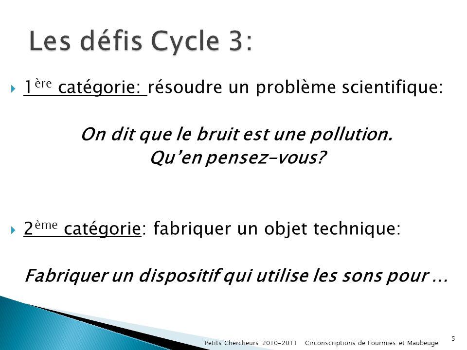 1 ère catégorie: résoudre un problème scientifique: On dit que le bruit est une pollution. Quen pensez-vous? 2 ème catégorie: fabriquer un objet techn