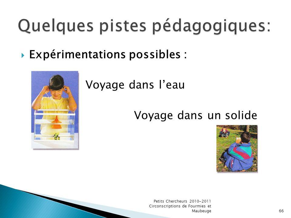 Expérimentations possibles : Voyage dans leau Voyage dans un solide Petits Chercheurs 2010-2011 Circonscriptions de Fourmies et Maubeuge66
