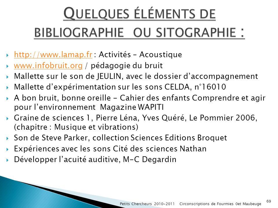 http://www.lamap.fr : Activités – Acoustique http://www.lamap.fr www.infobruit.org / pédagogie du bruit www.infobruit.org Mallette sur le son de JEULI