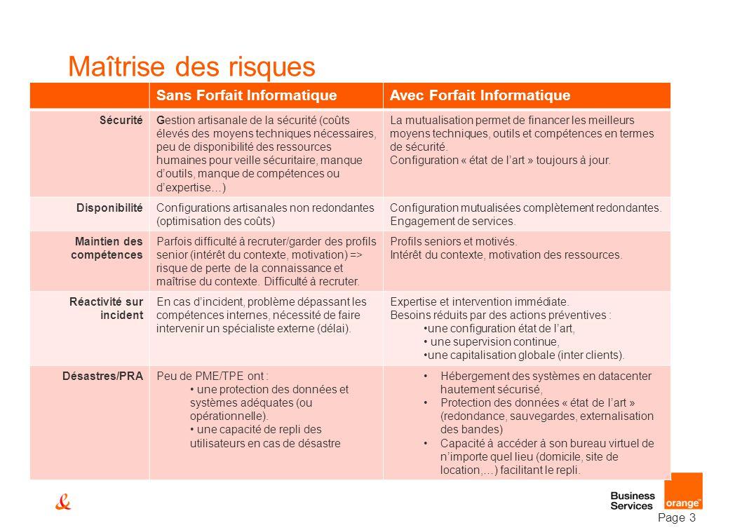 Page 3 Maîtrise des risques Sans Forfait InformatiqueAvec Forfait Informatique SécuritéGestion artisanale de la sécurité (coûts élevés des moyens tech