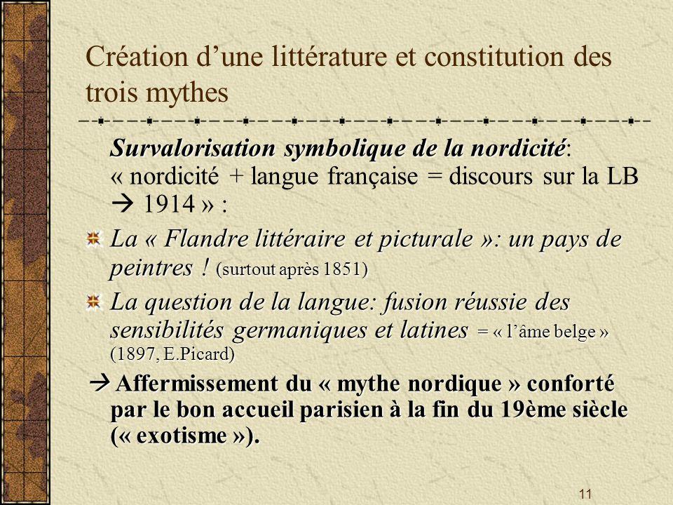 11 Création dune littérature et constitution des trois mythes Survalorisation symbolique de la nordicité Survalorisation symbolique de la nordicité: «