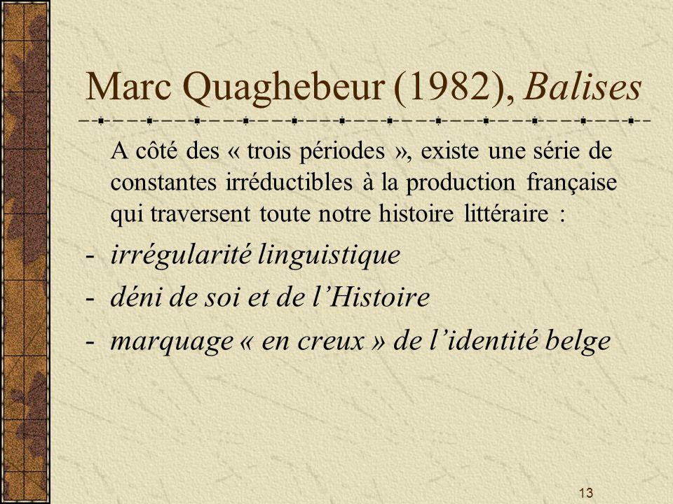 13 Marc Quaghebeur (1982), Balises A côté des « trois périodes », existe une série de constantes irréductibles à la production française qui traversen