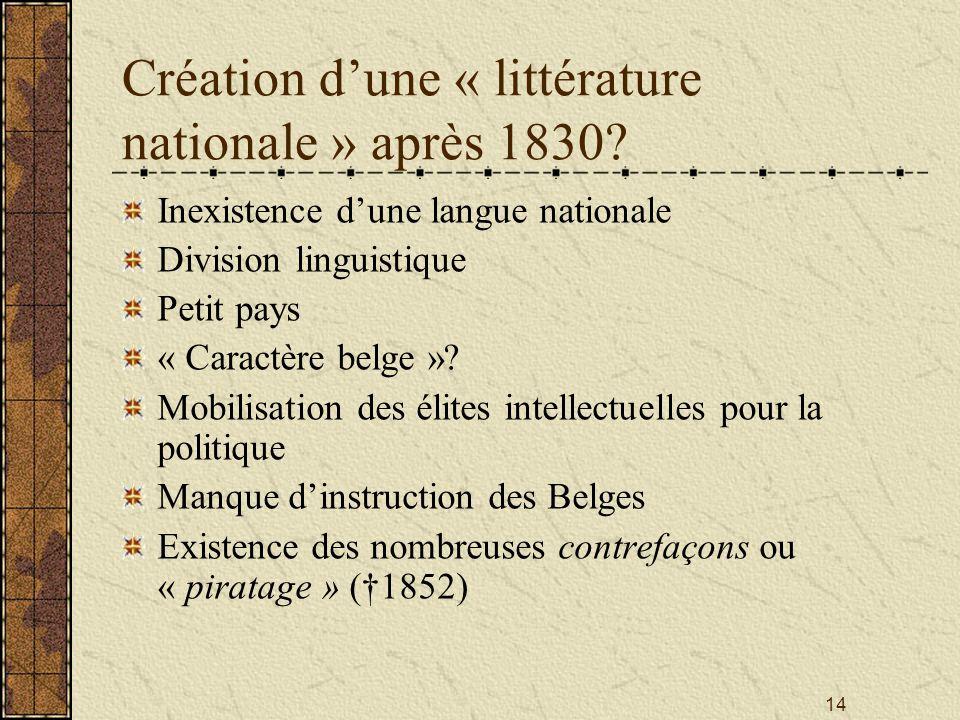 14 Création dune « littérature nationale » après 1830? Inexistence dune langue nationale Division linguistique Petit pays « Caractère belge »? Mobilis
