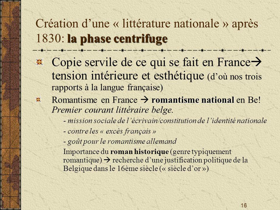 16 la phasecentrifuge Création dune « littérature nationale » après 1830: la phase centrifuge Copie servile de ce qui se fait en France tension intéri
