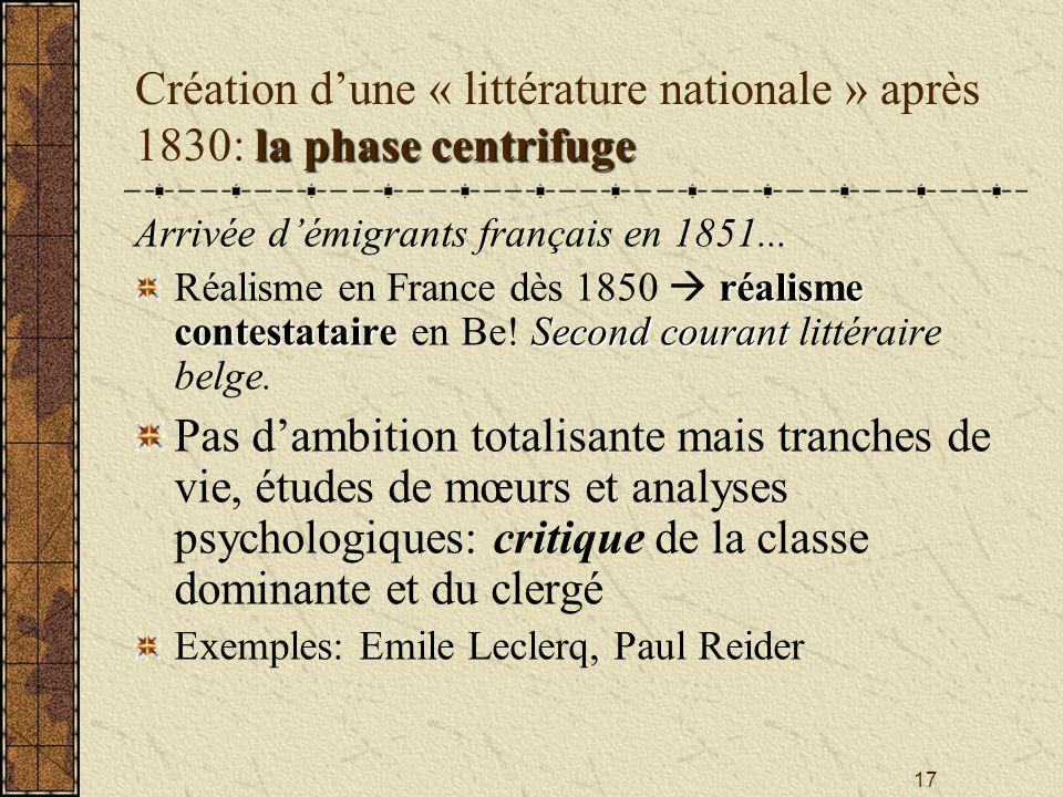 17 la phasecentrifuge Création dune « littérature nationale » après 1830: la phase centrifuge Arrivée démigrants français en 1851... réalisme contesta