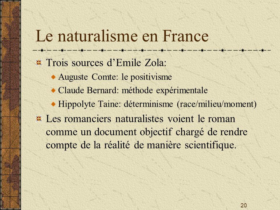 20 Le naturalisme en France Trois sources dEmile Zola: Auguste Comte: le positivisme Claude Bernard: méthode expérimentale Hippolyte Taine: déterminis