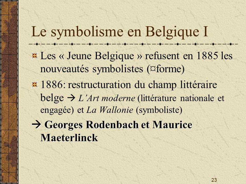23 Le symbolisme en Belgique I Les « Jeune Belgique » refusent en 1885 les nouveautés symbolistes (¤forme) 1886: restructuration du champ littéraire b