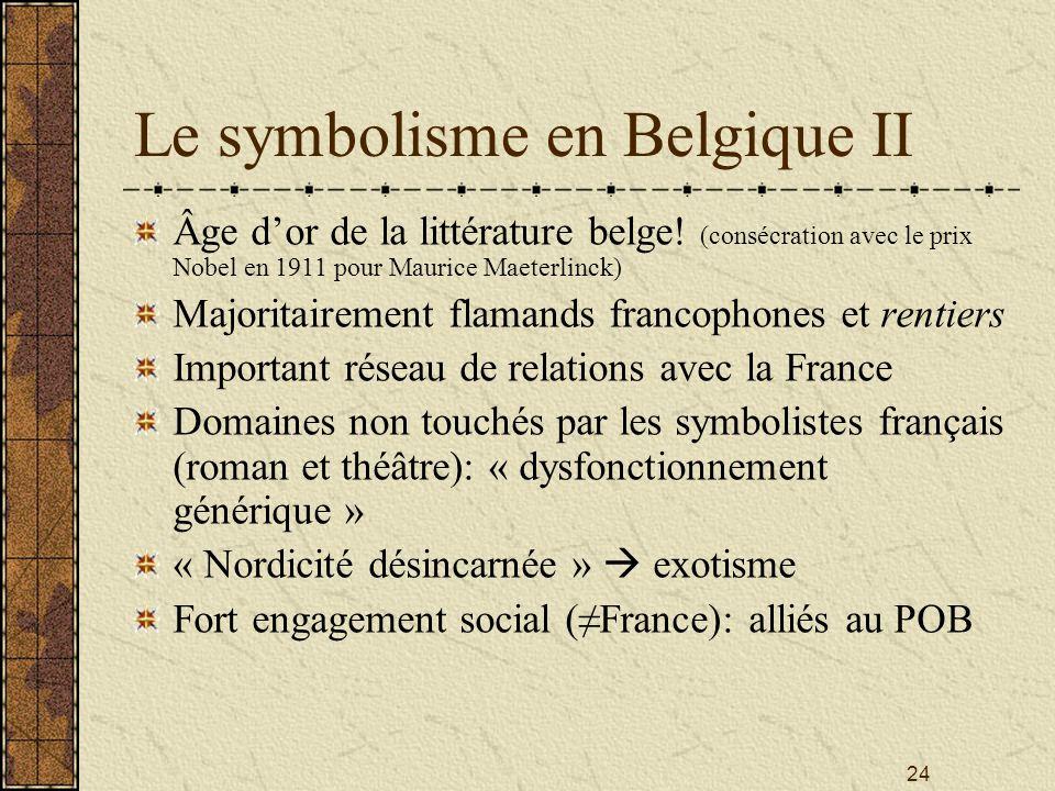 24 Le symbolisme en Belgique II Âge dor de la littérature belge! (consécration avec le prix Nobel en 1911 pour Maurice Maeterlinck) Majoritairement fl