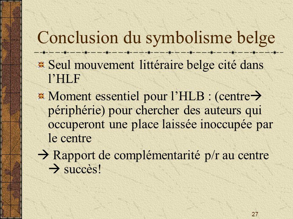 27 Conclusion du symbolisme belge Seul mouvement littéraire belge cité dans lHLF Moment essentiel pour lHLB : (centre périphérie) pour chercher des au