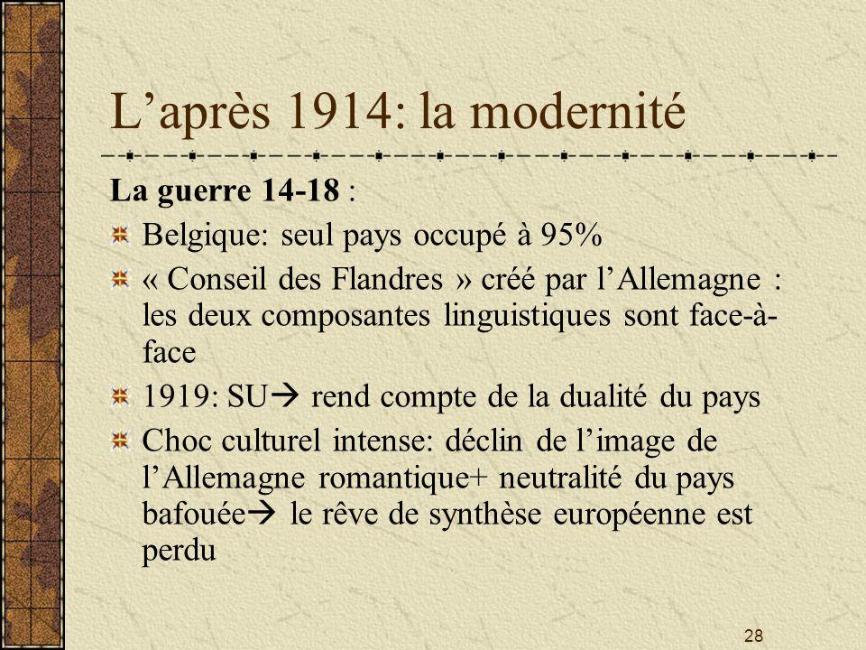 28 Laprès 1914: la modernité La guerre 14-18 : Belgique: seul pays occupé à 95% « Conseil des Flandres » créé par lAllemagne : les deux composantes li
