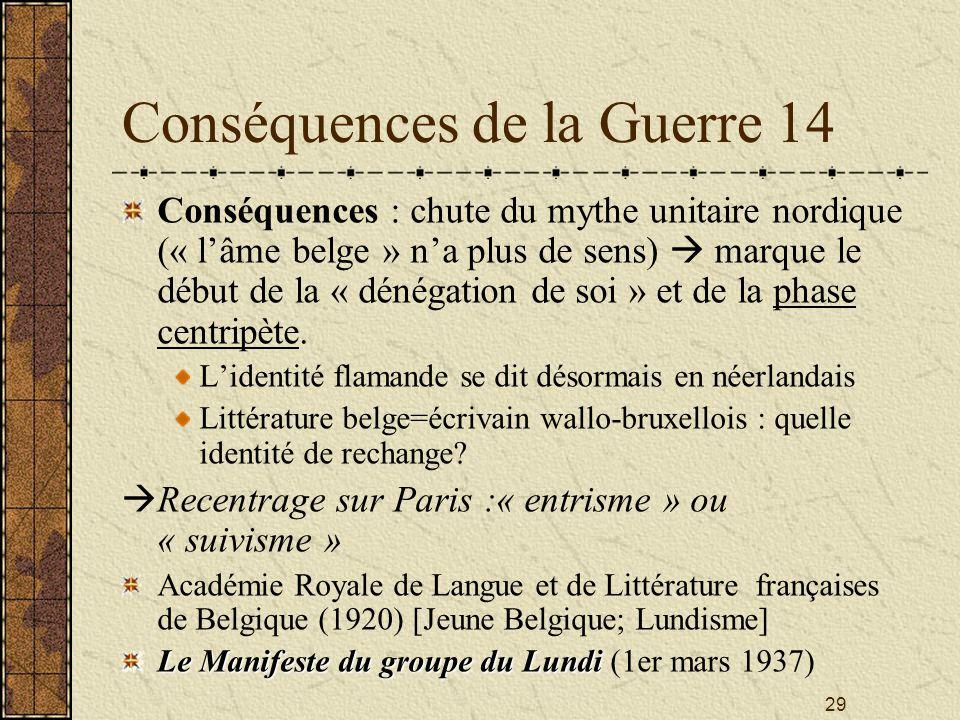 29 Conséquences de la Guerre 14 Conséquences : chute du mythe unitaire nordique (« lâme belge » na plus de sens) marque le début de la « dénégation de