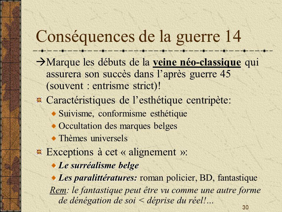 30 Conséquences de la guerre 14 Marque les débuts de la veine néo-classique qui assurera son succès dans laprès guerre 45 (souvent : entrisme strict)!