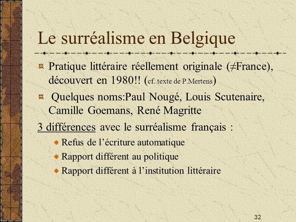 32 Le surréalisme en Belgique Pratique littéraire réellement originale (France), découvert en 1980!! ( cf. texte de P.Mertens ) Quelques noms:Paul Nou