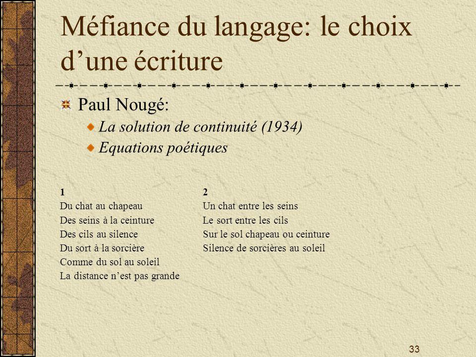 33 Méfiance du langage: le choix dune écriture Paul Nougé: La solution de continuité (1934) Equations poétiques 12 Du chat au chapeauUn chat entre les