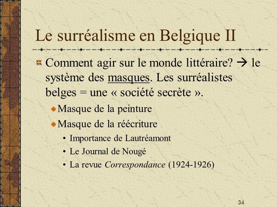 34 Le surréalisme en Belgique II Comment agir sur le monde littéraire? le système des masques. Les surréalistes belges = une « société secrète ». Masq