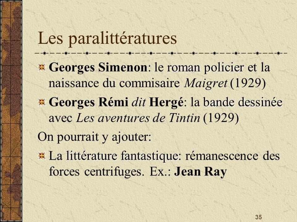35 Les paralittératures roman policier Georges Simenon: le roman policier et la naissance du commisaire Maigret (1929) bande dessinée Georges Rémi dit