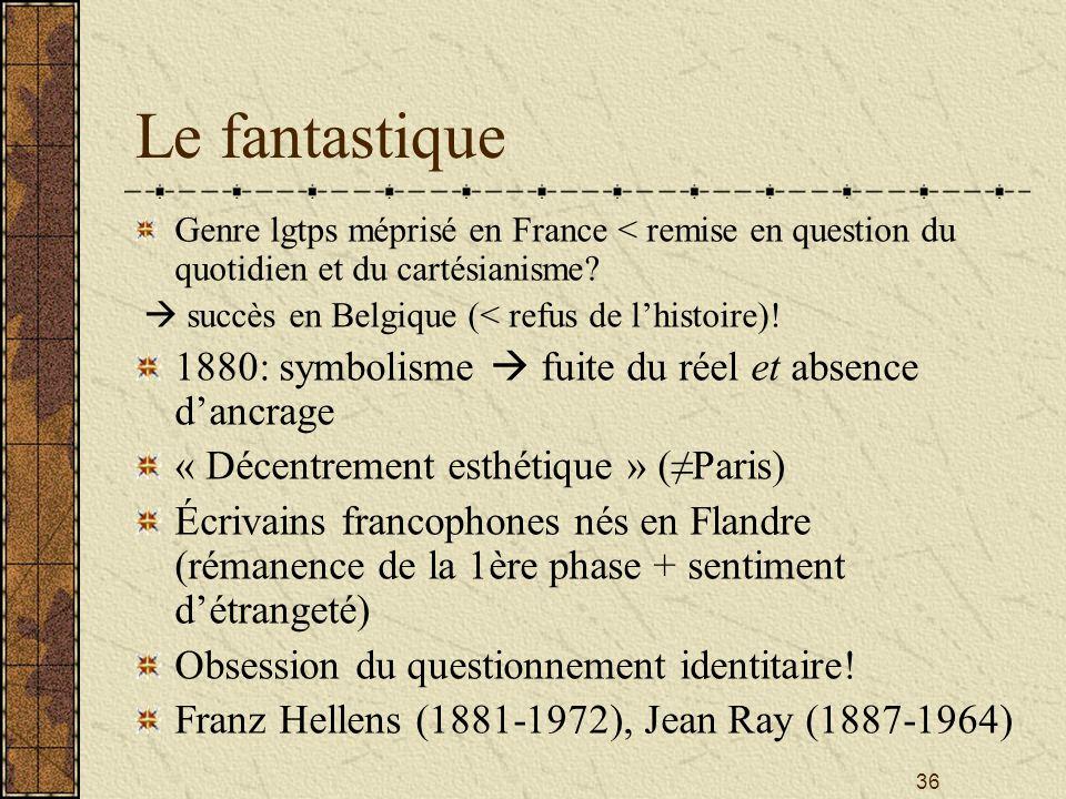 36 Le fantastique Genre lgtps méprisé en France < remise en question du quotidien et du cartésianisme? succès en Belgique (< refus de lhistoire)! 1880