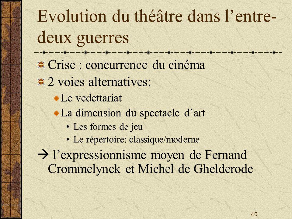 40 Evolution du théâtre dans lentre- deux guerres Crise : concurrence du cinéma 2 voies alternatives: Le vedettariat La dimension du spectacle dart Le
