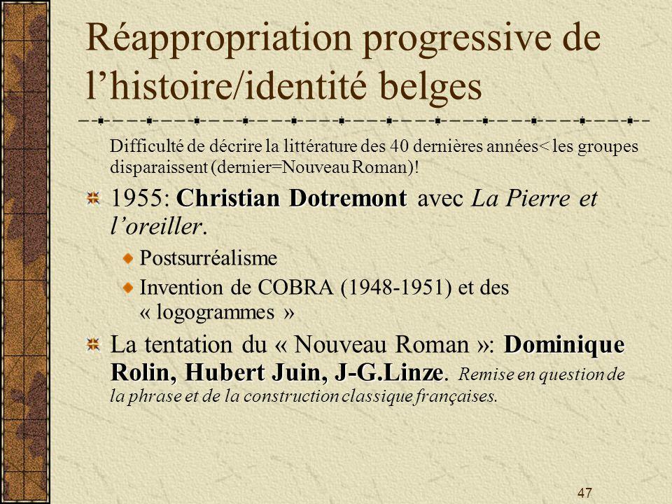 47 Réappropriation progressive de lhistoire/identité belges Difficulté de décrire la littérature des 40 dernières années< les groupes disparaissent (d