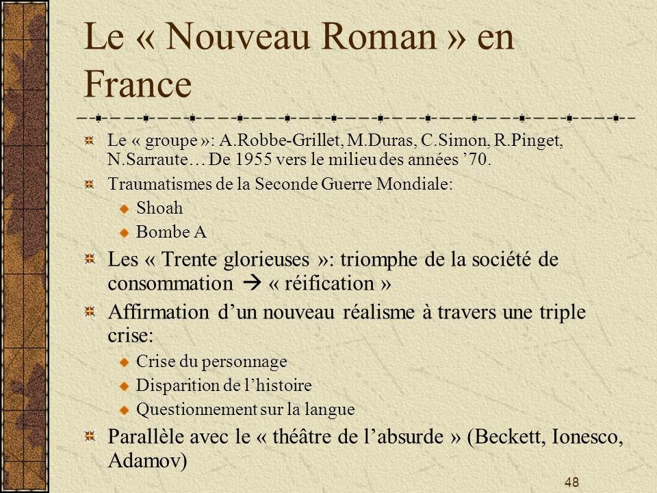48 Le « Nouveau Roman » en France Le « groupe »: A.Robbe-Grillet, M.Duras, C.Simon, R.Pinget, N.Sarraute… De 1955 vers le milieu des années 70. Trauma
