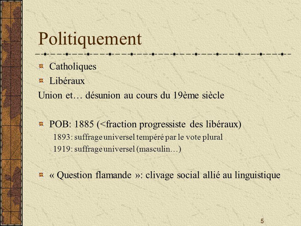 5 Politiquement Catholiques Libéraux Union et… désunion au cours du 19ème siècle POB: 1885 (<fraction progressiste des libéraux) 1893: suffrage univer