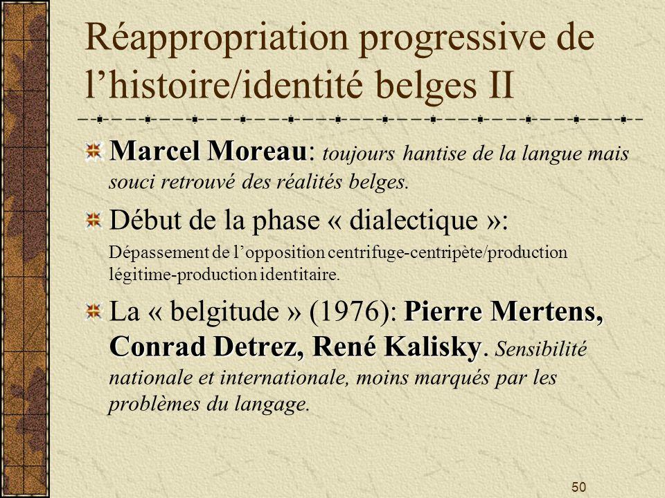 50 Réappropriation progressive de lhistoire/identité belges II Marcel Moreau Marcel Moreau: toujours hantise de la langue mais souci retrouvé des réal