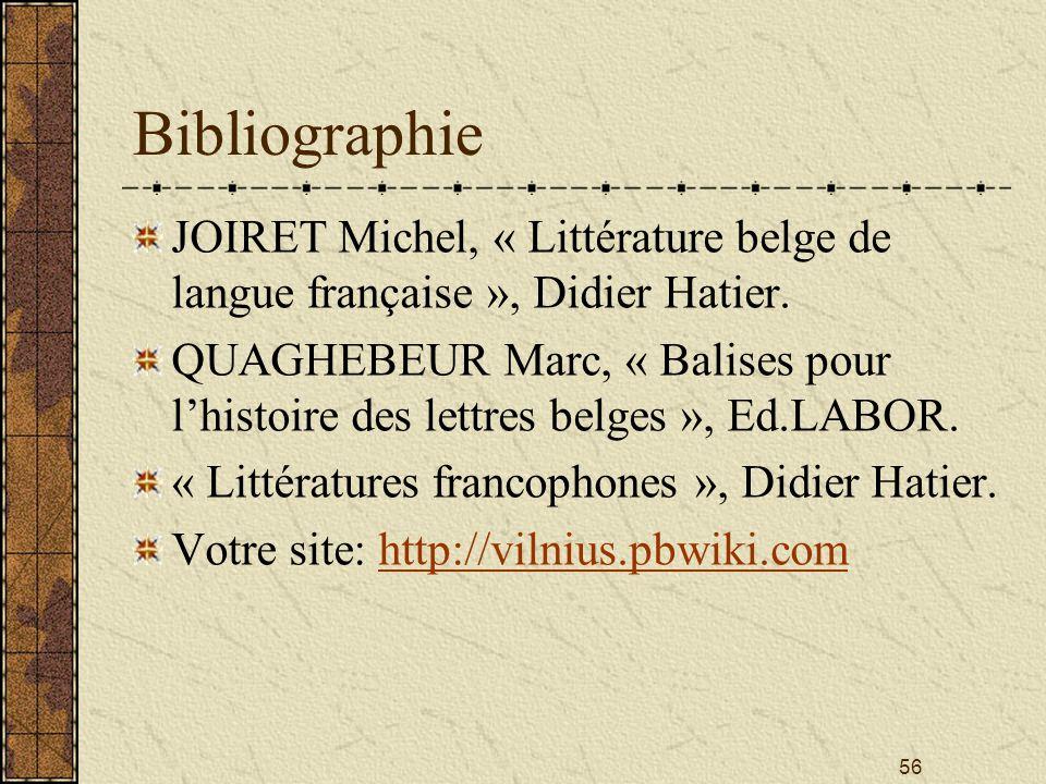 56 Bibliographie JOIRET Michel, « Littérature belge de langue française », Didier Hatier. QUAGHEBEUR Marc, « Balises pour lhistoire des lettres belges