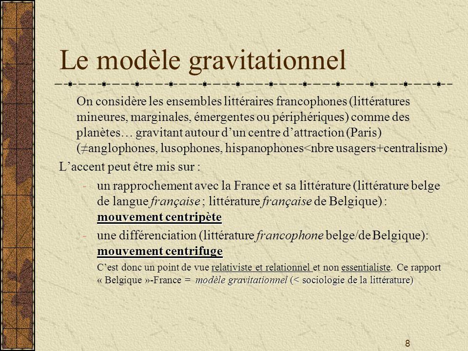 8 Le modèle gravitationnel On considère les ensembles littéraires francophones (littératures mineures, marginales, émergentes ou périphériques) comme