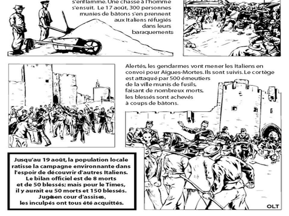 Des tensions déjà anciennes A partir de lexemple pogroms anti- italiens dAigues-Mortes, montrez que la xénophobie résulte dun faisceau de facteurs.