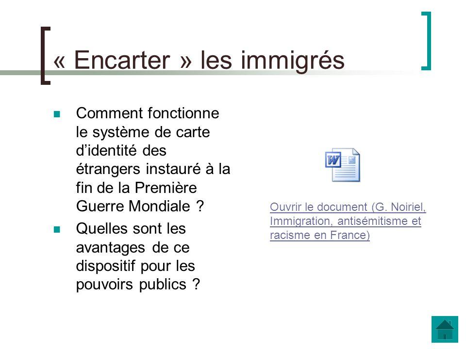 b. Limmigration, affaire dEtat Les politiques migratoires